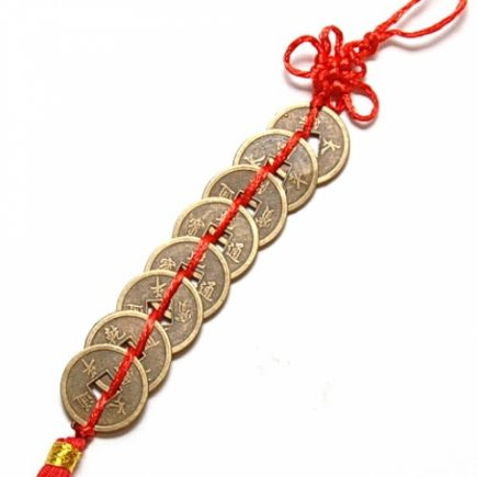 Sirag de opt monede I-Ching si nod mistic, remediu Feng Shui pentru abundenta, bani, prosperitate si bunastare