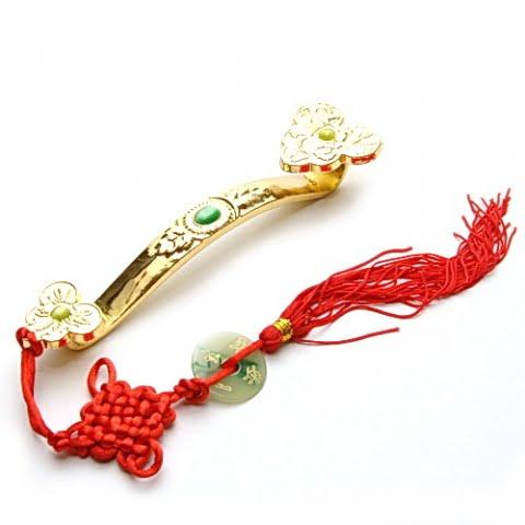 Ru Yi auriu cu nod mistic din metal, Remediu Feng Shui pentru cariera, loc de munca, job