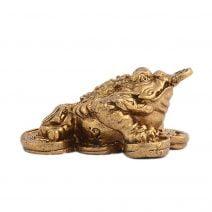 Broasca norocoasa cu trei picioare din bronz-0