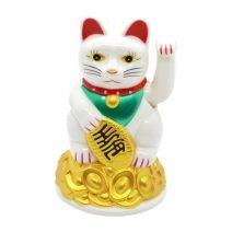 Pisica norocoasa Maneki Neko Feng Shui alba