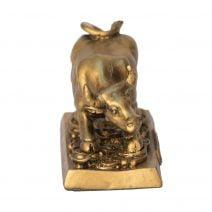 Bivol auriu pe monede norocoase, Remediu Feng Shui pentru bunastare si prosperitate