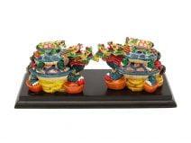Pereche de Testoase Dragon colorate, Remediu Feng Shui pentru sanatate si familie
