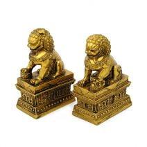 Caini Fu aurii din rasina, Remediu Feng Shui pentu protectie si bunastare