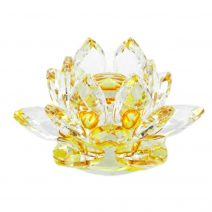Floare de lotus galbena din cristal, remediu Feng Shui pentru protectie, energizare si purificare