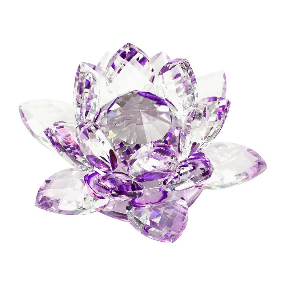 Floare de lotus mov din cristal, remediu Feng Shui pentru protectie, energizare si purificare