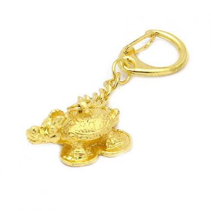 Breloc auriu cu testoasa dragon, Remediu Feng Shui pentru bunastare si prosperitate