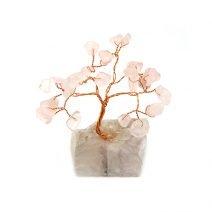 Copacel cu cuart roz pe suport de piatra, Remediu Feng Shui pentru dragoste si casatorie