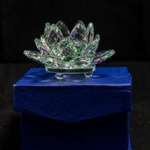 Floare de lotus verde din cristal, remediu Feng Shui pentru protectie, energizare si purificare