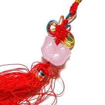 Amuleta cu rate mandarine din cuart roz, Remediu Feng Shui pentru dragoste si casatorie