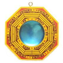 Oglinda Ba Gua concava galbena, Remediu Feng Shui pentru bunastare si echilibrare