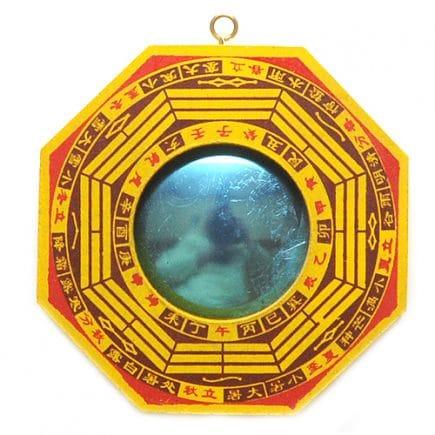 Oglinda Ba Gua convexa galbena, Remediu Feng Shui pentru bunastare si echilibrare