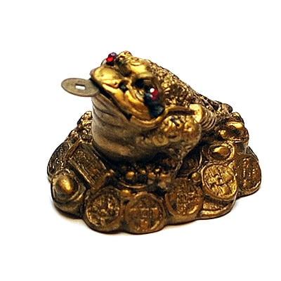 Broasca raioasa pe monede norocoase, remediu Feng Shui pentru bunastare si prosperiate