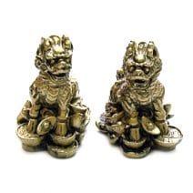 Pereche de Chi Lin aurii din rasina, remediu feng shui pentru protectie si bunastare