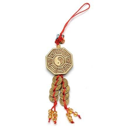 Canaf cu Pa Gua Yin Yang si monede, remediu Feng Shui pentru bunastare si prosperiate