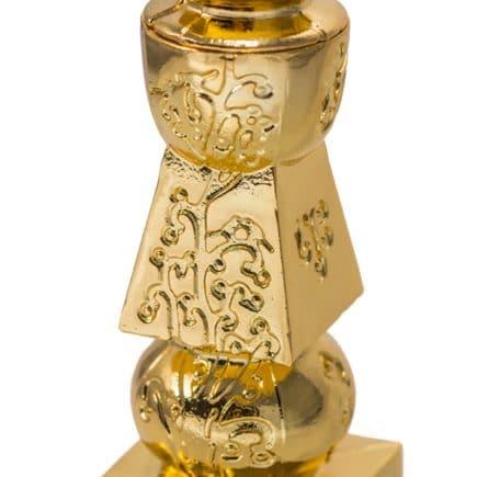 Pagoda celor cinci elemente din metal aurit incrustata cu pomul vietii, remediu Feng Shui pentru sanatate si familie