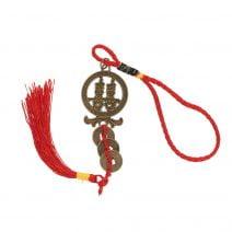 Amuleta cu simbolul dublei fericiri si Monede Chinezesti