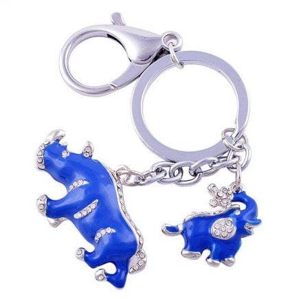Breloc cu Elefant si Rinocer albastri, remediu Feng Shui pentru bunastare si abundenta