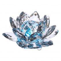 Floare de lotus albastra din cristal, remediu Feng Shui pentru energizare si purificare