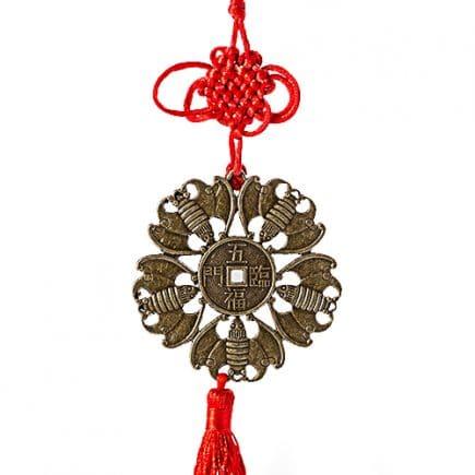 Amuleta cu 5 Lilieci si Moneda pentru Noroc, remediu Feng Shui pentru prosperitate, bunastare si sanatate