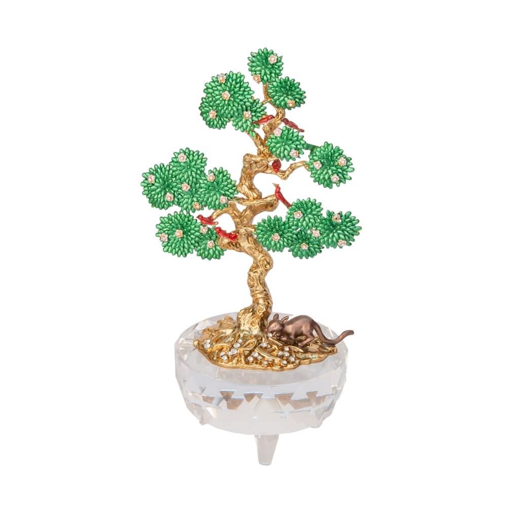 Copacul dorintelor cu 6 pasari si mangusta, remediu Feng Shui pentru noroc