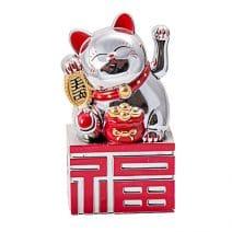 Pisica norocoasa argintie cu ideograma norocului, remediu Feng Shui pentru bani, prosperitate, abundenta, avere si bunastare