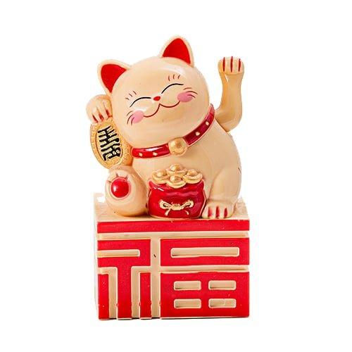 Pisica norocoasa cu ideograma norocului, remediu Feng Shui pentru bani, prosperitate, abundenta si avere