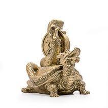 Testoasa Dragon cu Sarpe si Moneda, remediu Feng Shui pentru cariera si succes la locul de munca