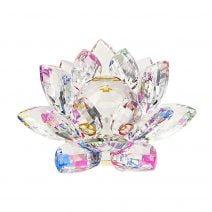 Floare de lotus multicolora din cristal, remediu Feng Shui pentru purificare