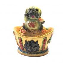 Caine pe pepita cu dragon, phoenix si mantra de protectie, remediu Feng Shui pentru bunastare