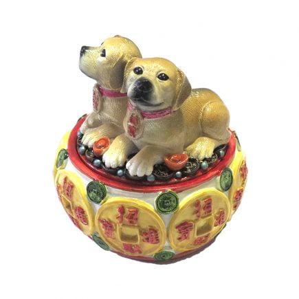 Vasul abundentei colorat cu pereche de caini, remediu Feng Shui pentru abundenta si bunastare