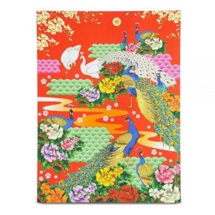 Placa celor 9 pauni din lemn, remediu Feng Shui pentru protectia casei