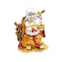 Buddha razand cu toiag, monede, pepita, floare de piersic si sacul abundentei - Metalic-0