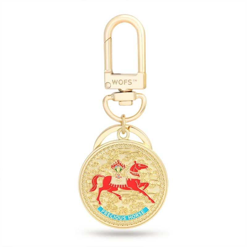 Amuleta-Breloc cu Cal de vant rosu - Lung Ta si flacara puterii-0