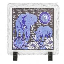 Placa (placheta) cu Elefant si Rinocer albastri- placa pachidermelor albastre-0