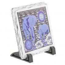 Placa (placheta) cu Elefant si Rinocer albastri- placa pachidermelor albastre-5765
