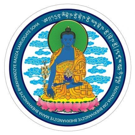 Abtibild cu Buddha medicinei albastra cu floare de lotus-0