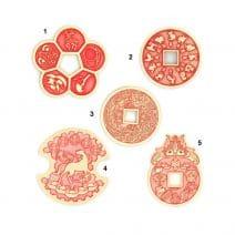 Amuleta de succes si prosperitate cu 5 (cinci banuti) monezi -0