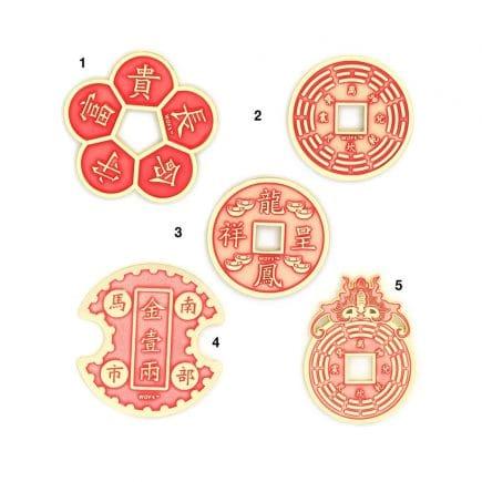 Amuleta de succes si prosperitate cu 5 (cinci banuti) monezi -5499
