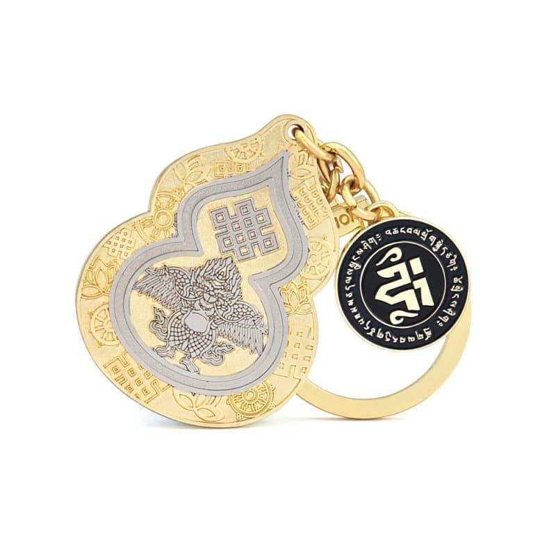 Amuleta pentru sanatate cu Wu Lou (ulu), Pasarea Garuda si Nod Mistic-0
