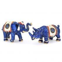 Elefant si rinocer albastru din metal-0