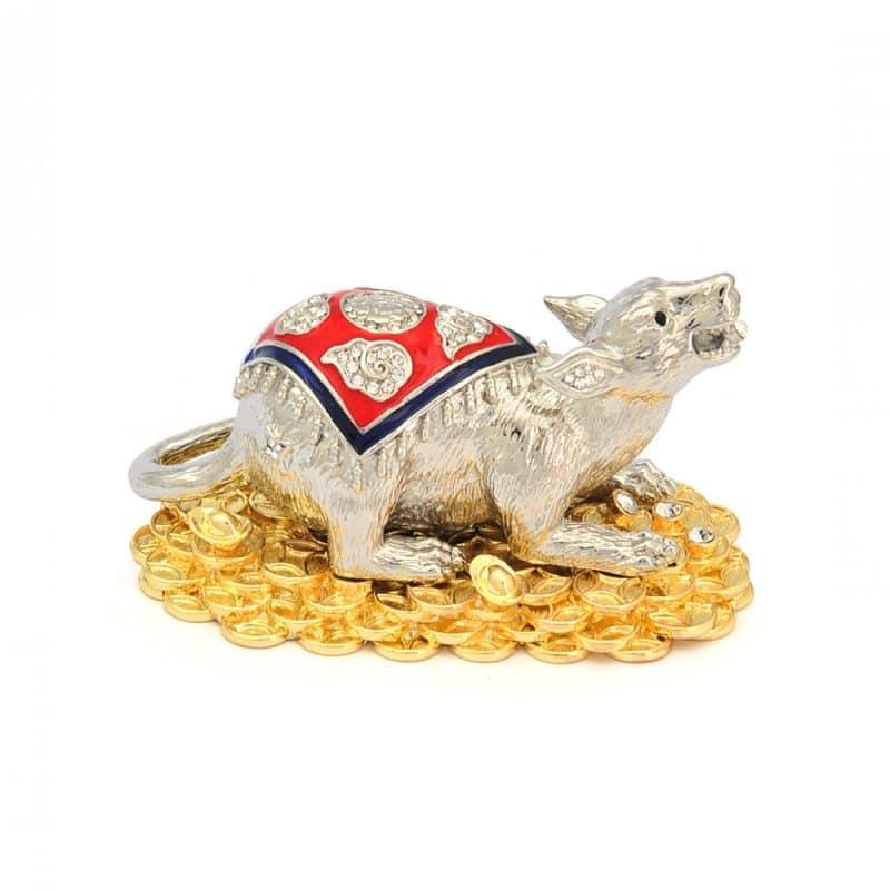 Statueta cu Mangusta Alba pe bani si pepite -0
