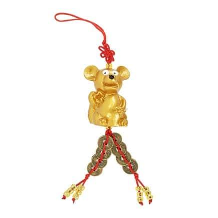 Amuleta cu Sobolan auriu cu 8 Monezi chnezesti-0