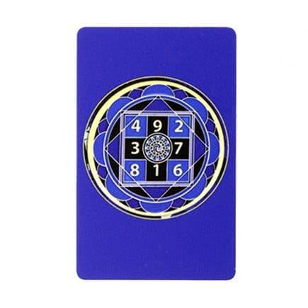 Card amuleta amplificatoare a sumei lui 10 - Amuleta suma 10 albastra cu patratul magic-0