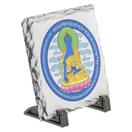 Placa (placheta) cu Buddha medicinei albastra cu floare de lotus - pe piatra-5768