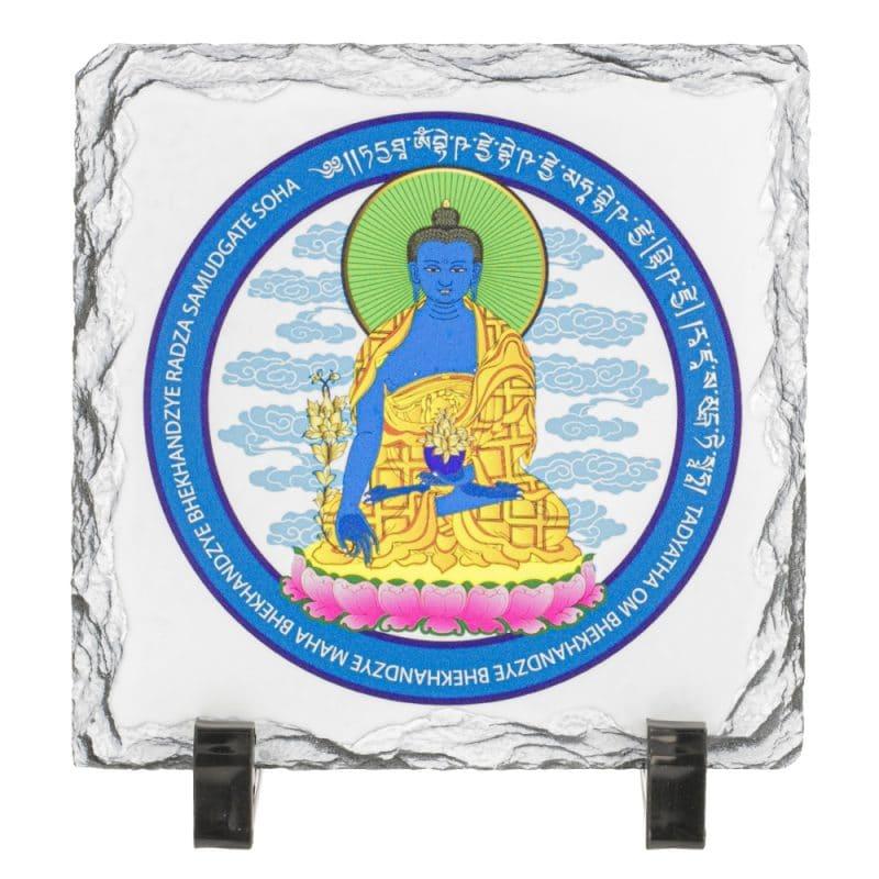 Placa (placheta) cu Buddha medicinei albastra cu floare de lotus - pe piatra-0