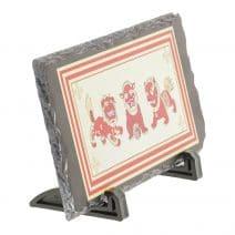Placheta ( placa ) cu cei trei gardieni celesti, cei trei lei sau cei trei gardieni divini - pe piatra-5779