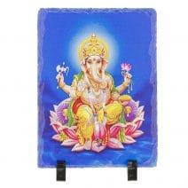 Placheta ( placa ) cu Ganesh pe floare de lotus-0