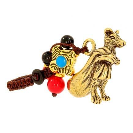Amuleta cu Sobolan auriu din metal cu sacul abundentei-0
