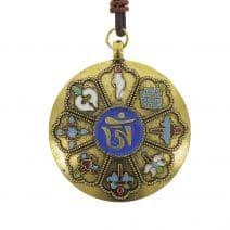 Amuleta cu cele 8 simboluri tibetane, cu cele 12 zodii si silaba de protectie-0