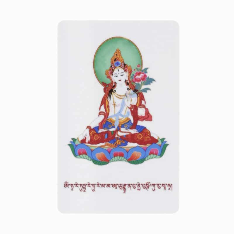 Card amuleta cu Tara Alba pentru sanatate, forta vitala si spirituala Feng shui
